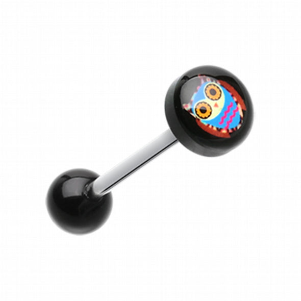Retro Owl Logo Acrylic Barbell Tongue Ring-WildKlass Jewelry