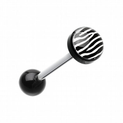Zebra Stripe Logo Acrylic Barbell Tongue Ring-WildKlass Jewelry