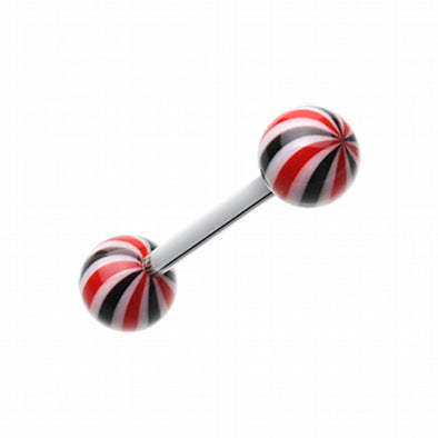 Candy Swirl Acrylic Top Barbell Tongue Ring-WildKlass Jewelry