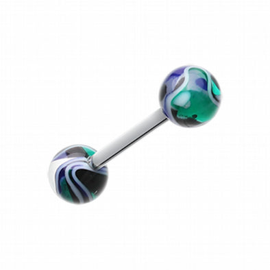 Marble Swirl Acrylic Top Barbell Tongue Ring-WildKlass Jewelry