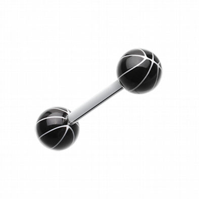 Basketball Acrylic Top Barbell Tongue Ring-WildKlass Jewelry