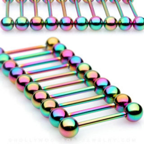 10PC Rainbow Titanium IP Over 316L Surgical Steel WildKlass Barbell Package-WildKlass Jewelry