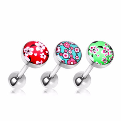 "316l Surgical Steel Cherry Blossom Flat Barbell 14ga 5/8"" 10mm Ball Size (Sold in Pair)-WildKlass Jewelry"