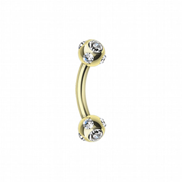 Gold Plated Aurora Gem Ball Curved Barbell Eyebrow Ring-WildKlass Jewelry