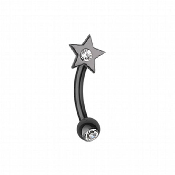 Colorline PVD Sparkle Star Curved Barbell Eyebrow Ring-WildKlass Jewelry