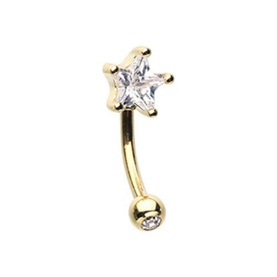 Golden Star Gem Prong WildKlass Curved Barbell Eyebrow Ring-WildKlass Jewelry