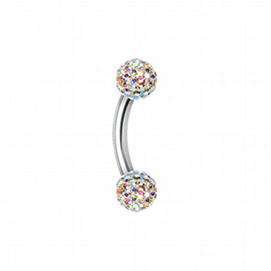Multi-Sprinkle Dot Curved Barbell Eyebrow Ring-WildKlass Jewelry