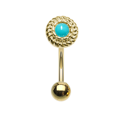 Golden Round Ornate Rope Turquoise WildKlass Curved Barbell Eyebrow Ring-WildKlass Jewelry