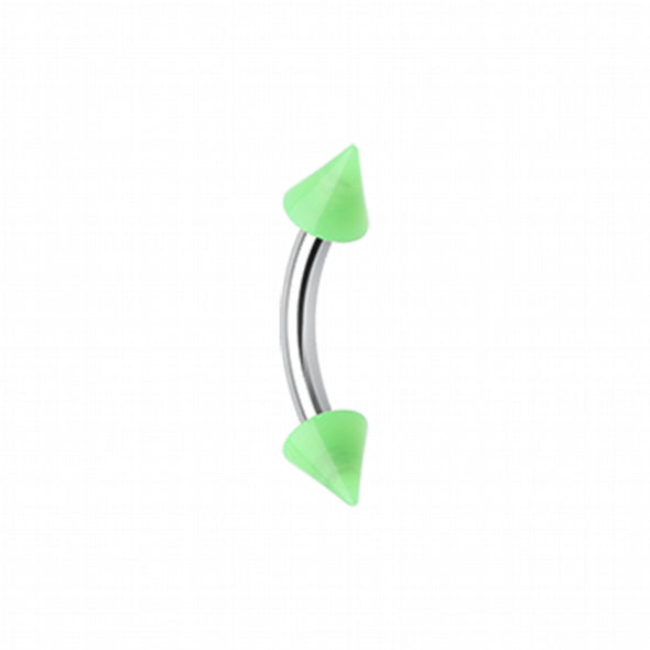 Neon Acrylic Spike Ends Curved Barbell Eyebrow Ring-WildKlass Jewelry