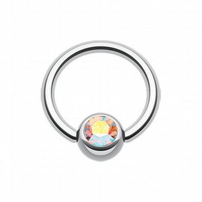 Gem Ball Steel Captive Bead Ring-WildKlass Jewelry