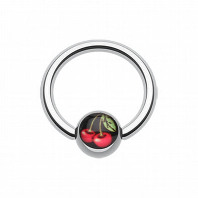Luscious Cherry Logo Ball Captive Bead Ring-WildKlass Jewelry
