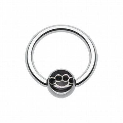 Brassknuckle Logo Ball Captive Bead Ring-WildKlass Jewelry