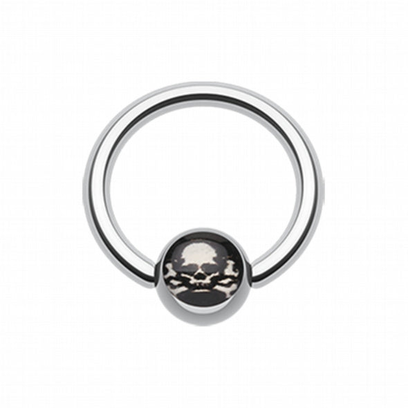 Pirate Skull Logo Ball Captive Bead Ring-WildKlass Jewelry