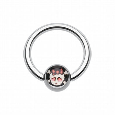 Cute Emo Skull Logo Ball Captive Bead Ring-WildKlass Jewelry