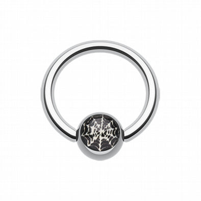 Spider Web Logo Ball Captive Bead Ring-WildKlass Jewelry