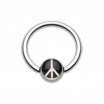 Classic Peace Logo Ball Captive Bead Ring-WildKlass Jewelry