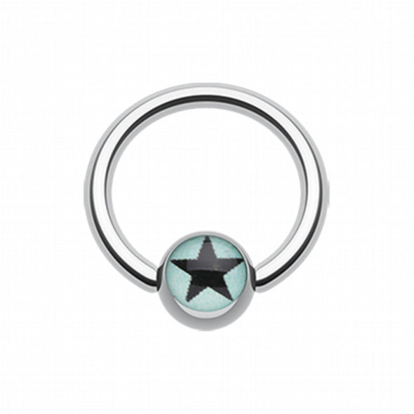 Vivid Star Logo Ball Captive Bead Ring-WildKlass Jewelry