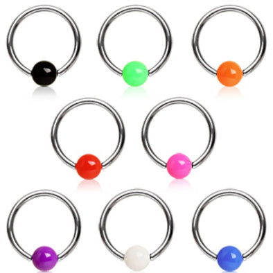 316L Surgical Steel Captive Bead Ring with Solid UV Ball-WildKlass Jewelry