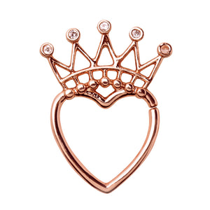Rose Gold Plated Jeweled Crown Heart Seamless Ring-WildKlass Jewelry