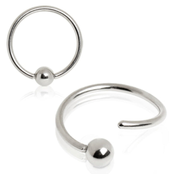 316L Surgical Steel One Side Fixed Captive Bead Ring-WildKlass Jewelry