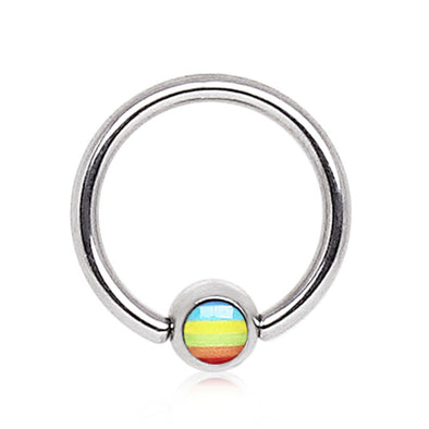 316L Surgical Steel Captive Bead Ring with Rainbow Flag Logo Ball-WildKlass Jewelry