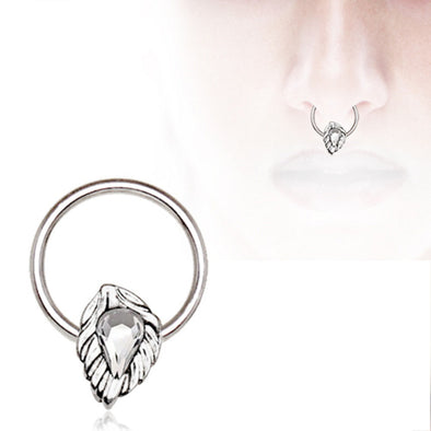 316L Stainless Steel Jeweled Leaf WildKlass Captive Bead Ring / Septum Ring-WildKlass Jewelry