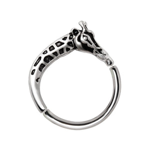 316L Stainless Steel Giraffe Silver Plated Seamless Ring / Cartilage Earring-WildKlass Jewelry