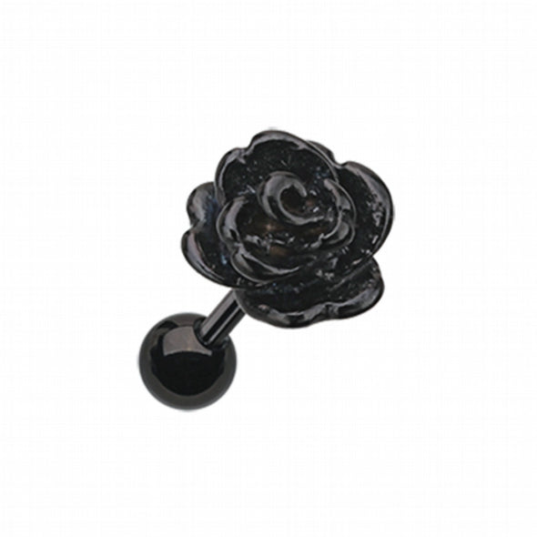 Colorline Steel Rose Cartilage Tragus Earring-WildKlass Jewelry