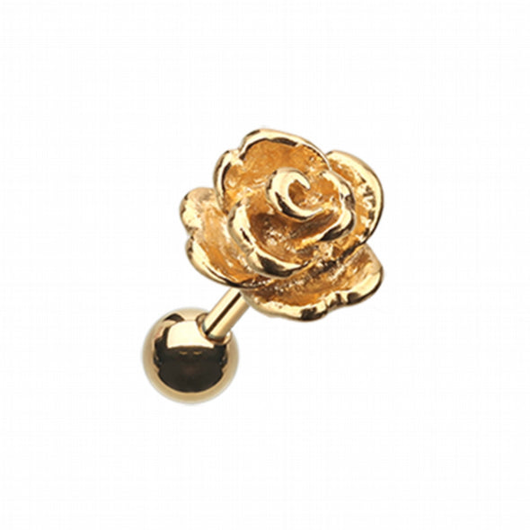 Golden Steel Rose Cartilage Tragus Earring-WildKlass Jewelry