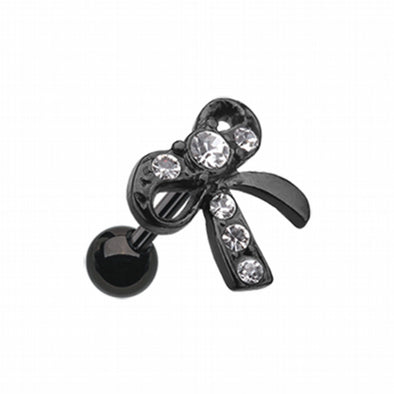 Blackline Lacy Bow-Tie Cartilage Tragus Earring-WildKlass Jewelry