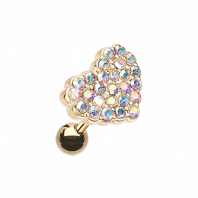 Golden Multi-Sprinkle Dot Heart Multi-Gem Cartilage Tragus Earring-WildKlass Jewelry