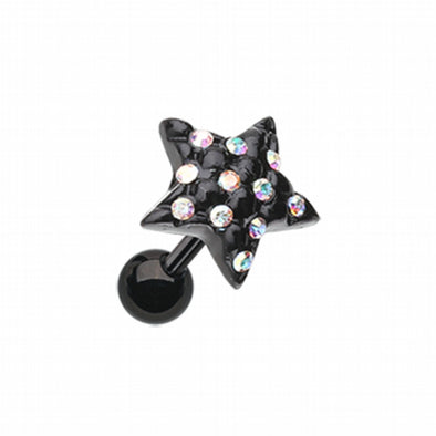 Blackline Star Multi-Gem Cartilage Tragus Earring-WildKlass Jewelry