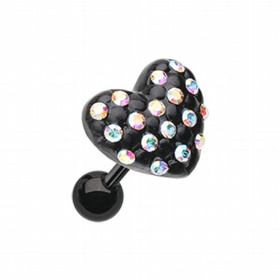 Blackline Heart Multi-Gem Cartilage Tragus Earring-WildKlass Jewelry