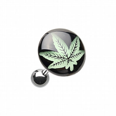 Glow in the Dark Cannabis Weed Cartilage Tragus Earring-WildKlass Jewelry