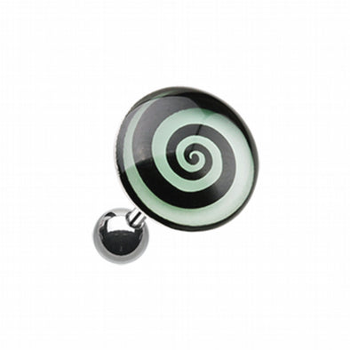 Glow in the Dark Hypnotic Swirl Cartilage Tragus Earring-WildKlass Jewelry