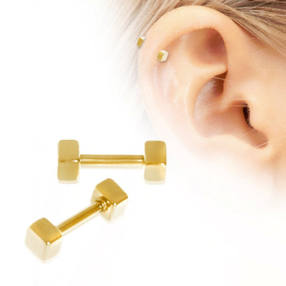 Gold Plated Cubed Cartilage Earring-WildKlass Jewelry