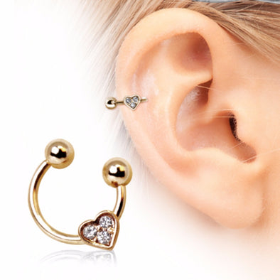 Gold Plated Horseshoe Cartilage Earring with Gemmed Heart-WildKlass Jewelry