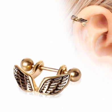 Gold Plated Angel Wing Cartilage Cuff-WildKlass Jewelry