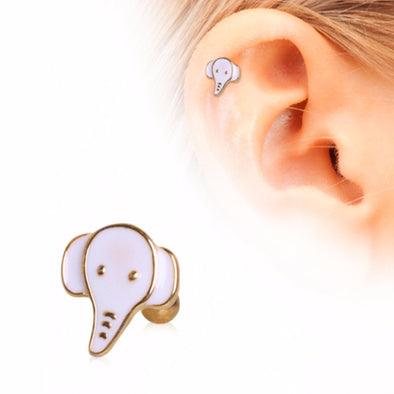 Gold Plated Cute White Elephant Cartilage Earring-WildKlass Jewelry