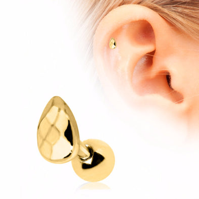 Gold Plated Faceted Teardrop Cartilage Earring-WildKlass Jewelry