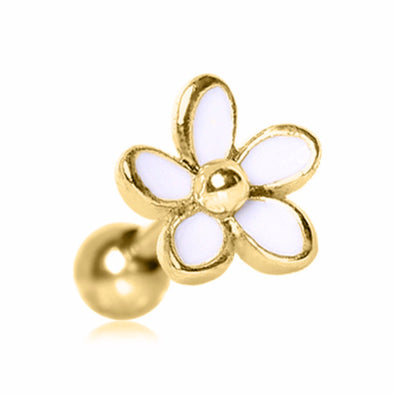 Gold Plated Sweet White Daisy Cartilage Earring-WildKlass Jewelry