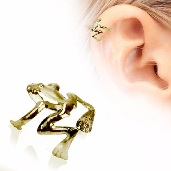 Antique Gold Plated Tree Frog Fake Cartilage Ear Cuff-WildKlass Jewelry