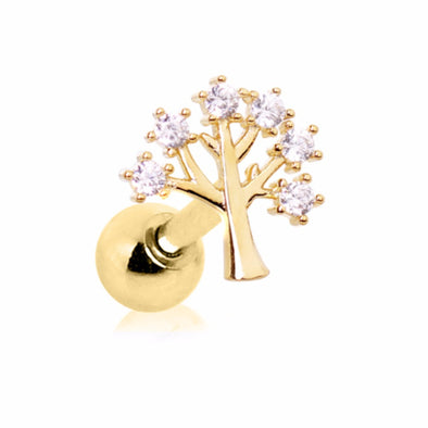 Gold Plated Jeweled Tree of Life Cartilage Earring-WildKlass Jewelry