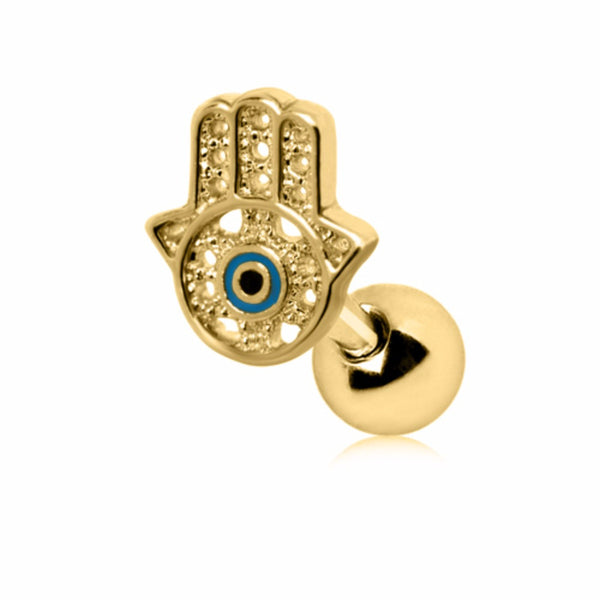Gold Plated All-Seeing Hamsa Hand Cartilage Earring-WildKlass Jewelry