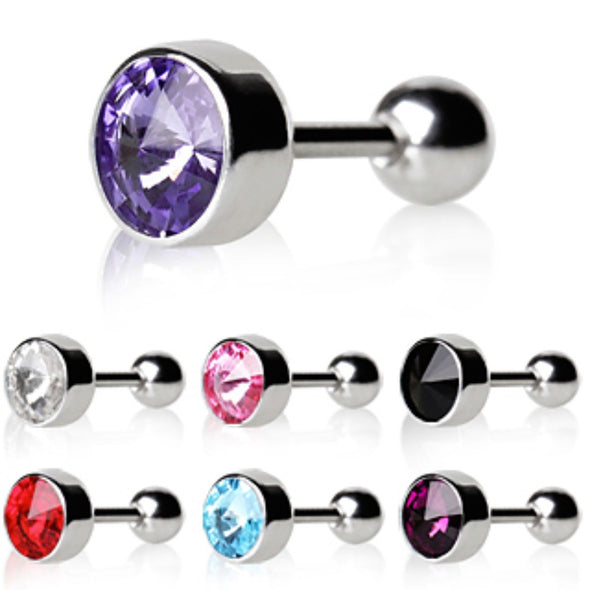 316L Surgical Steel Bezel Set Faceted Swarovski Crystal Cartilage Earring-WildKlass Jewelry