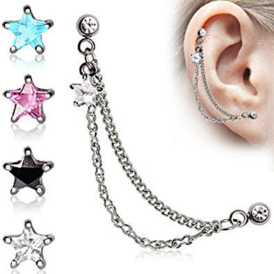Star 316L Surgical Steel Double Chained Cartilage Earring-WildKlass Jewelry
