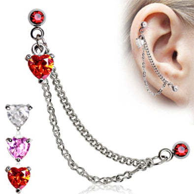 Heart 316L Surgical Steel Double Chained Cartilage Earring-WildKlass Jewelry