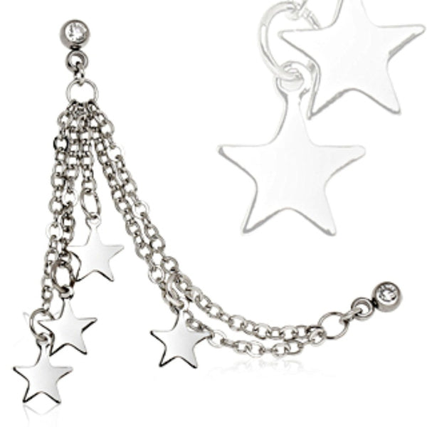 316L Surgical Steel Chained Stars Cartilage Earring-WildKlass Jewelry