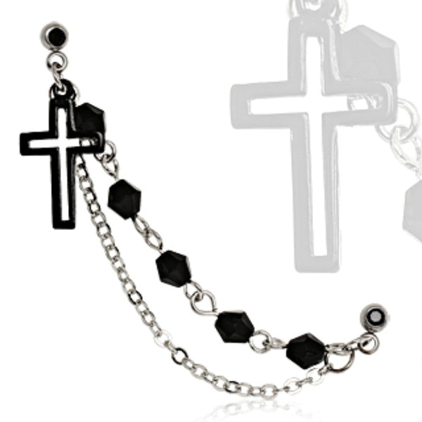 316L Surgical Steel Black IP Plated Chained Cross Cartilage Earring-WildKlass Jewelry