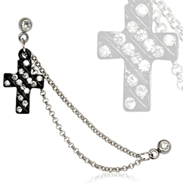 316L Surgical Steel Chained Cross Cartilage Earring-WildKlass Jewelry